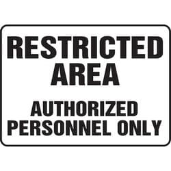 """Safety Sign, RESTRICTED AREA AUTHORIZED PERSONNEL ONLY, 10"""" x 14"""", Aluminum, Black on White"""