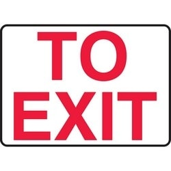 "Safety Sign, TO EXIT, 10"" x 14"", Aluminum, Red on White"