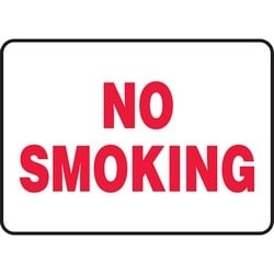 "Safety Sign, NO SMOKING, 10"" x 14"", Dura-Polyester Vinyl, Red on White"