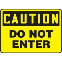 "Safety Sign, CAUTION DO NOT ENTER, 10"" x 14"", Aluminum, Black on Yellow"