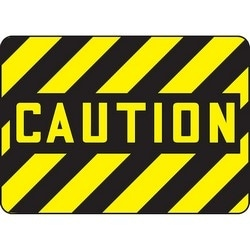 "Safety Sign, CAUTION, 10"" x 14"", Aluminum, Black/Yellow"