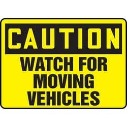 "Safety Sign, CAUTION WATCH FOR MOVING VEHICLES, 7"" x 10"", Aluminum, Black on Yellow"