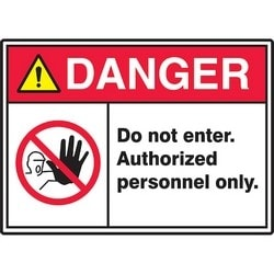 """Safety Sign, DANGER DO NOT ENTER. AUTHORIZED PERSONNEL ONLY., 10"""" x 14"""", Dura-Polyester Vinyl, Red/Yellow/Black on White"""