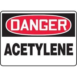 """Safety Sign, DANGER ACETYLENE, 10"""" x 14"""", Aluminum, Red/Black on White"""