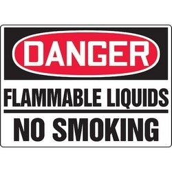 "Safety Sign, DANGER FLAMMABLE LIQUIDS - NO SMOKING, 10"" x 14"", Dura-Polyester Vinyl, Red/Black on White"