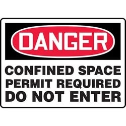 """Safety Sign, DANGER CONFINED SPACE PERMIT REQUIRED DO NOT ENTER, 10"""" x 14"""", Dura-Polyester Vinyl, Red/Black on White"""