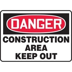 "Safety Sign, DANGER CONSTRUCTION AREA KEEP OUT, 10"" x 14"", Aluminum, Red/Black on White"