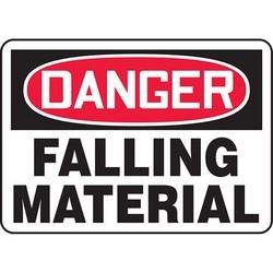 "Safety Sign, DANGER FALLING MATERIAL, 7"" x 10"", Dura-Polyester Vinyl, Red/Black on White"