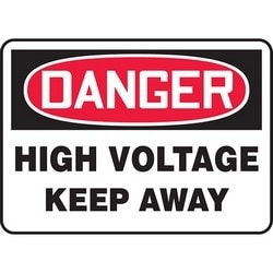 "Safety Sign, DANGER HIGH VOLTAGE KEEP AWAY, 10"" x 14"", Aluminum, Red/Black on White"