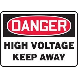 "Safety Sign, DANGER HIGH VOLTAGE KEEP AWAY, 7"" x 10"", Dura-Polyester Vinyl, Red/Black on White"