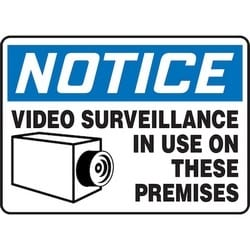 "Safety Sign, NOTICE VIDEO SURVEILLANCE IN USE ON THESE PREMISES, 7"" x 10"", Aluminum, Blue/Black on White"