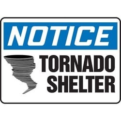 "Safety Sign, NOTICE TORNADO SHELTER, 10"" x 14"", Aluminum, Blue/Black on White"
