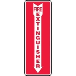 """Safety Sign, FIRE EXTINGUISHER, 14"""" x 5"""", Dura-Polyester Vinyl, Red on White"""