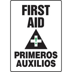 """Safety Sign, FIRST AID/PRIMEROS AUXILIOS, 14"""" x 10"""", Aluminum, Black/Green on White"""