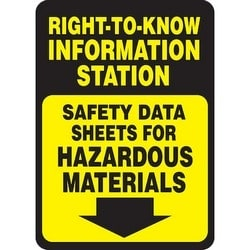 "Safety Sign, RIGHT-TO-KNOW INFORMATION STATION SAFETY DATA SHEETS FOR HAZARDOUS MATERIALS (DOWN ARROW), 14"" x 10"", Aluminum, Black/Yellow"
