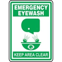 "Safety Sign, EMERGENCY EYEWASH KEEP AREA CLEAR, 14"" x 10"", Aluminum, Green on White"