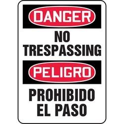 "Safety Sign, DANGER NO TRESPASSING/PELIGRO PROHIBIDO EL PASO, 14"" x 10"", Dura-Polyester Vinyl, Red/Black on White"