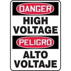 "Safety Sign, DANGER HIGH VOLTAGE/PELIGRO ALTO VOLTAJE, 14"" x 10"", Dura-Polyester Vinyl, Red/Black on White"