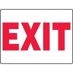"Safety Sign, EXIT, 24"" x 36"", Aluminum, Red on White"