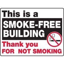 """Safety Sign, THIS IS A SMOKE-FREE BUILDING THANK YOU FOR NOT SMOKING, 24"""" x 36"""", Aluminum, Red/Black/White"""