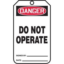 """Safety Tag, DANGER DO NOT OPERATE, 5.75"""" x 3.25"""", Poly Cardstock, Red/Black on White"""
