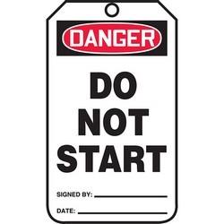 "Safety Tag, DANGER DO NOT START, 5.75"" x 3.25"", Poly Cardstock, Red/Black on White"
