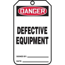 "Safety Tag, DANGER DEFECTIVE EQUIPMENT, 5.75"" x 3.25"", Poly Cardstock, Red/Black on White"