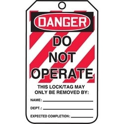 """Safety Tag, FRONT: DANGER DO NOT OPERATE - THIS LOCK/TAG MAY ONLY BE REMOVED BY:, 5.75"""" x 3.25"""", Poly Laminate, Red/Black on White"""