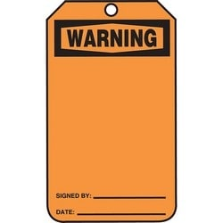 """Safety Tag, WARNING (BLANK MESSAGE AREA), 5.75"""" x 3.25"""", Poly Cardstock, Black on Orange"""