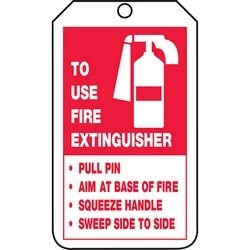 "Safety Tag, TO USE FIRE EXTINGUISHER -PULL PIN -AIM AT BASE OF FIRE -SQUEEZE HANDLE -SWEEP SIDE TO SIDE, / BACK: FIRE EXTINGUISHER INSPECTION RECORD, 5.75"" x 3.25"", Poly Cardstock, Red/Black on White"