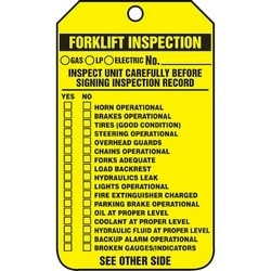 """Safety Tag, FRONT: FORKLIFT INSPECTION (CHECKLIST) __GAS __LP __ELECTRIC NO._____ INSPECT UNIT CAREFULLY BEFORE SIGNING INSPECTION RECORD (CHECKLIST) SEE OTHER SIDE, 5.75"""" x 3.25"""", Poly Cardstock, Black on Yellow"""