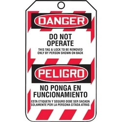 "Safety Tag, FRONT: DANGER DO NOT OPERATE, 5.75"" x 3.25"", Poly Laminate, Red/Black on White"