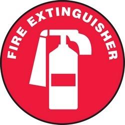"Safety Floor Sign, FIRE EXTINGUISHER, 17"" Diameter, Vinyl, White on Red"
