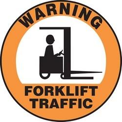 """Safety Floor Sign, WARNING FORKLIFT TRAFFIC, 17"""" Diameter, Vinyl, Black on Orange/White"""