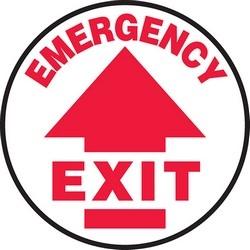 "Safety Floor Sign, EMERGENCY EXIT (ARROW), 17"" Diameter, Vinyl, Red on White"