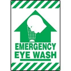 """Safety Floor Sign, EMERGENCY EYE WASH, 20"""" x 14"""", Vinyl, Green on White"""