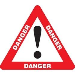 "Safety Floor Sign, DANGER (ALERT SYMBOL), 17"" Triangle, Vinyl, Red/Black/White"