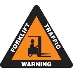 "Safety Floor Sign, WARNING FORKLIFT TRAFFIC, 17"" Triangle, Vinyl, White/Black/Orange"
