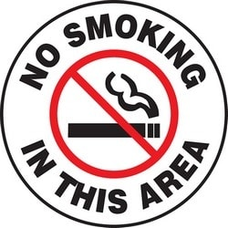 """Safety Floor Sign, NO SMOKING IN THIS AREA, 17"""" Diameter, Polyester/Aluminum, Red/Black on White"""
