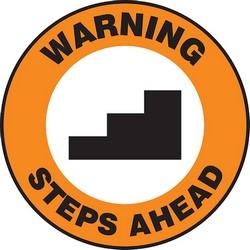 "Safety Floor Sign, WARNING STEPS AHEAD, 17"" Diameter, Polyester/Aluminum, Black/Orange/White"