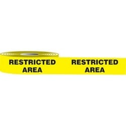 "Marking Tape, RESTRICTED AREA, 3"" x 50-ft, Vinyl/Polyester, Black on Yellow"