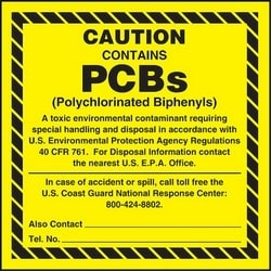 "Container Label, CAUTION CONTAINS PCBs (POLYCHLORINATED BIPHENYLS) A TOXIC ENVIRONMENTAL CONTAMINANT REQUIRING SPECIAL HANDLING AND DISPOSAL IN ACCORDANCE WITH U, 6"" x 6"", Adhesive, Black on Yellow, 25/PK"