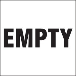 """Container Label, EMPTY, 6"""" x 6"""", Adhesive-Poly Sheet, Black on White, 100/PK"""