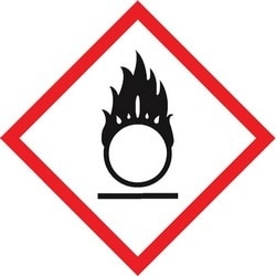"GHS Label, (FLAME OVER CIRCLE PICTOGRAM), 1"" x 1"", Adhesive-Poly Sheet, Red/Black on White, 500/RL"