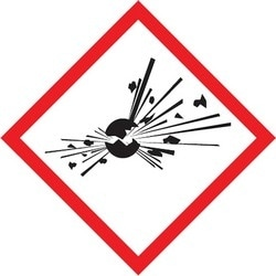 """GHS Label, (EXPLODING BOMB PICTOGRAM), 1"""" x 1"""", Adhesive Coated Paper, Red/Black on White, 250/RL"""