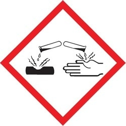 """GHS Label, (CORROSION PICTOGRAM), 2"""" x 2"""", Adhesive-Poly Sheet, Red/Black on White, 500/RL"""