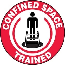 """Safety Sign, CONFINED SPACE TRAINED, 2.25"""", Vinyl, Red/Black/White"""