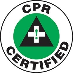 "Safety Label, CPR CERTIFIED, 2.25"", Vinyl, Green/Black/White"