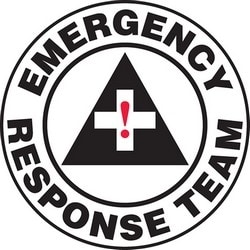 """Safety Label, EMERGENCY RESPONSE TEAM, 2.25"""", Vinyl, Red/Black/White"""