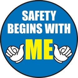 "Safety Label, SAFETY BEGINS WITH ME, 2.25"", Vinyl, White/Yellow/Blue"
